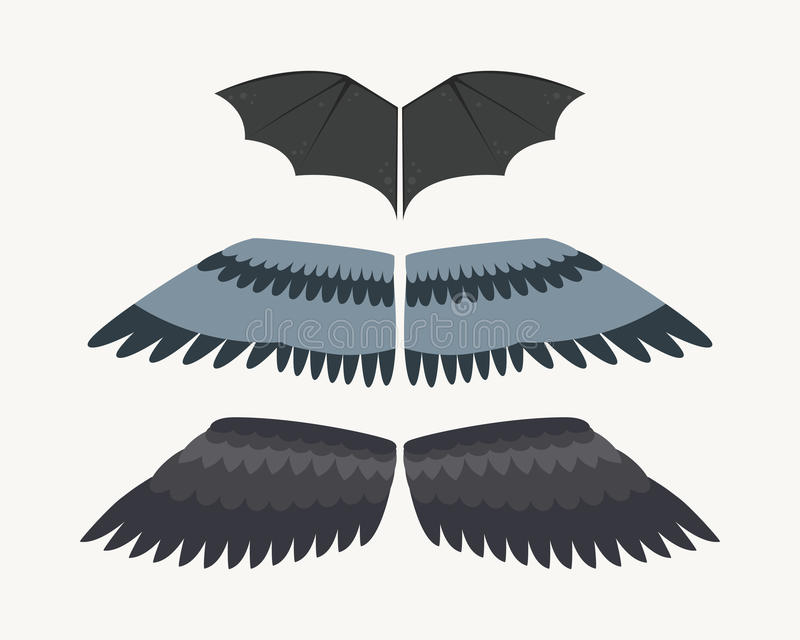Il volo animale di libertà dell'uccello del pignone della piuma isolato ali e la pace naturale di vita del falco progettano l'aqu illustrazione vettoriale