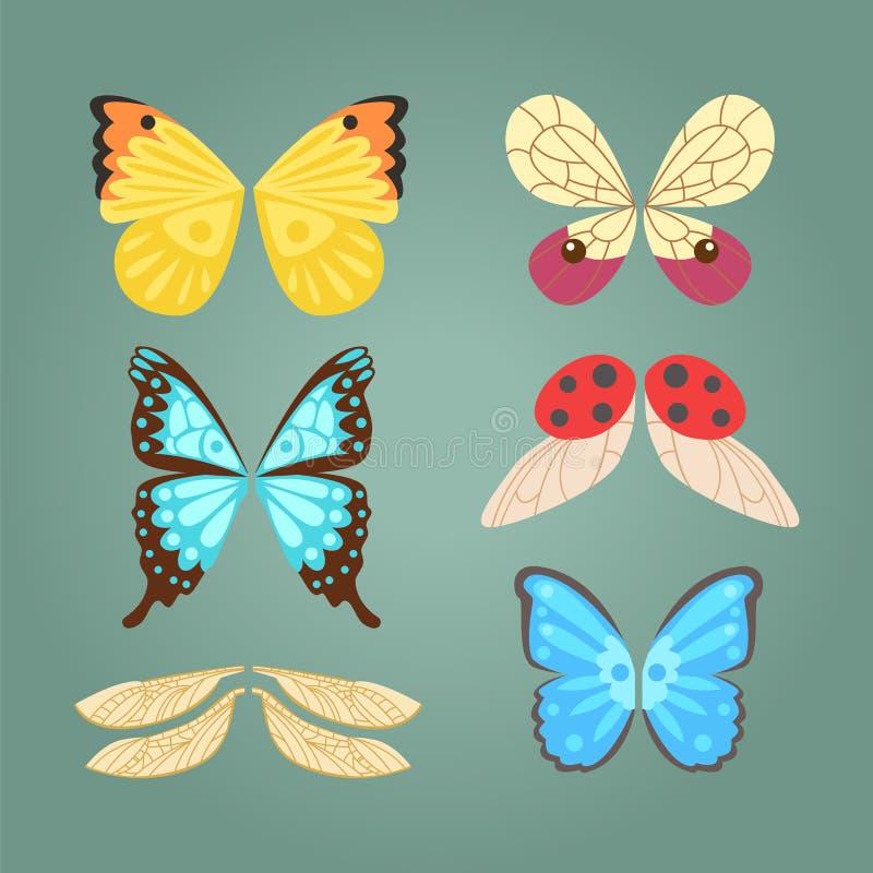 Il volo animale di libertà della farfalla del pignone della piuma isolato ali e la pace naturale di vita del falco progettano l'a illustrazione vettoriale