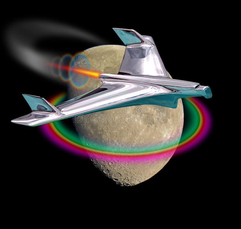 Il volo del razzo di Spacex a guasta il volo al viaggio equipaggiato galassia della luna fotografia stock
