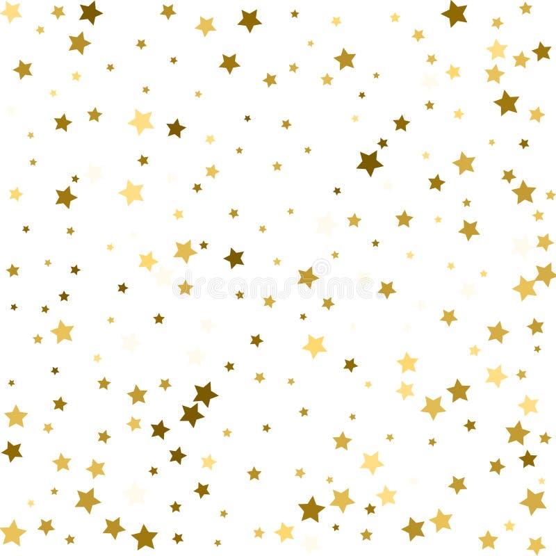 Il volo dell'oro stars il vettore magico della struttura di natale dei coriandoli, premio illustrazione di stock