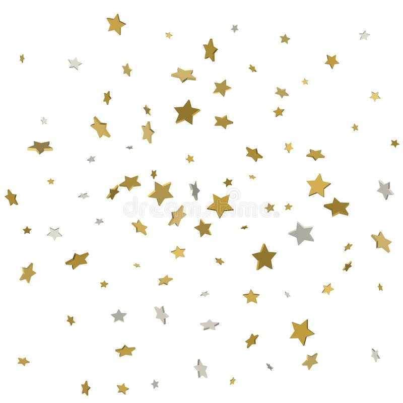 Il volo dell'oro stars il vettore magico della struttura di natale dei coriandoli, premio illustrazione vettoriale