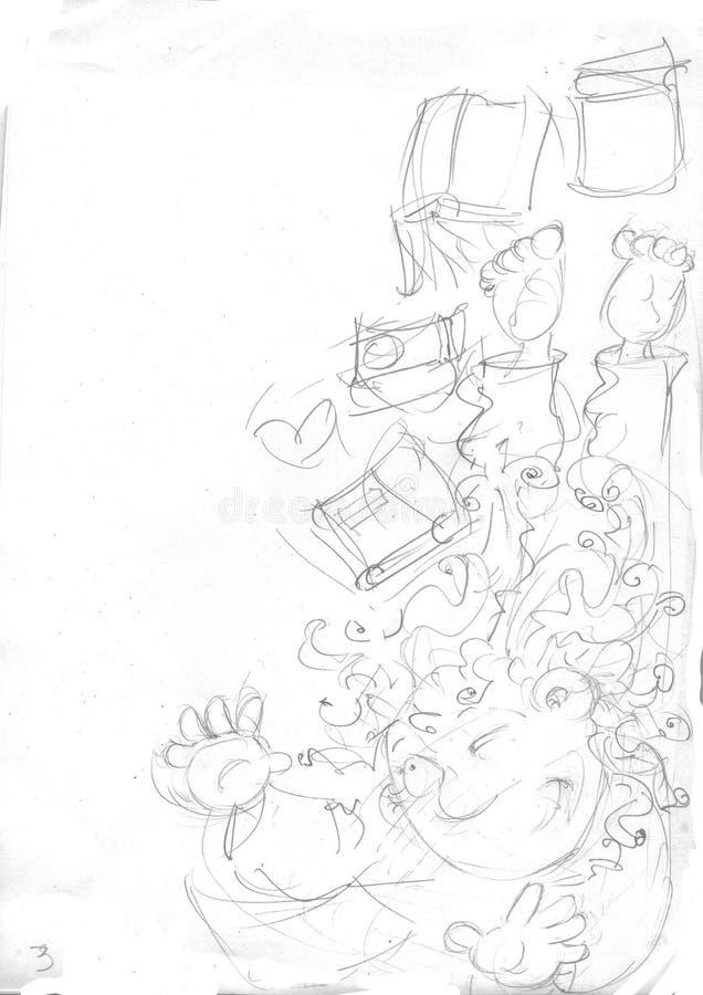 Una Bambina Con Le Trecce Verso Lalto Star Illustrazione Di Stock