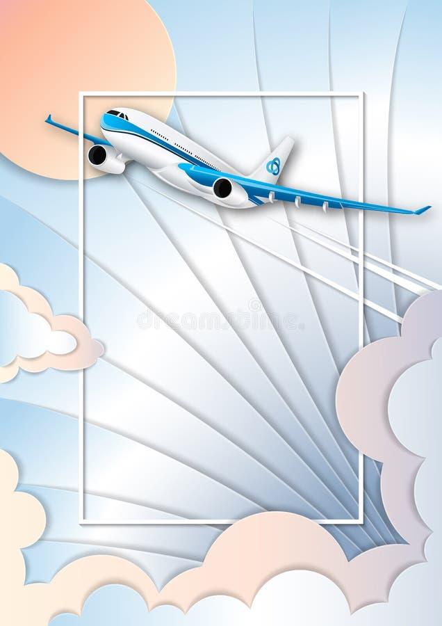 Il volo di una fodera di passeggero bianca Il cielo del turchese, il sole luminoso e cumuli variopinti Fondo d'argento royalty illustrazione gratis