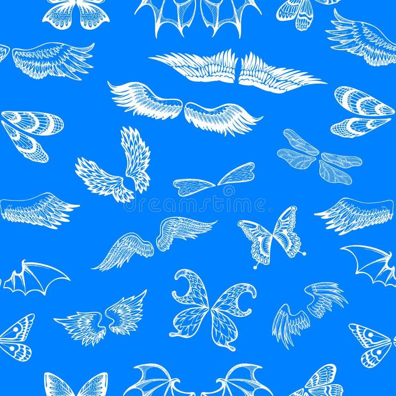 Il volo di vettore delle ali ha traversato l'angelo volando con il ala-caso dell'uccello e della farfalla con il tatuaggio del al illustrazione di stock