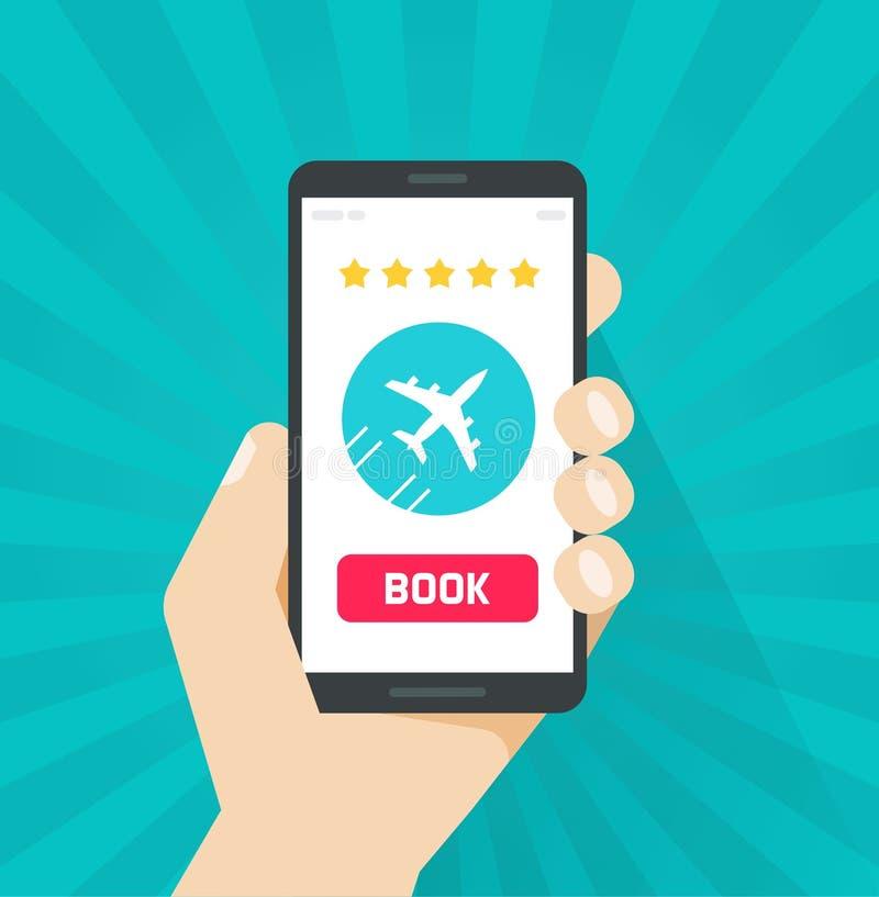 Il volo ettichetta online dall'illustrazione di vettore dello smartphone, telefono cellulare piano del fumetto con l'aereo tramit illustrazione di stock
