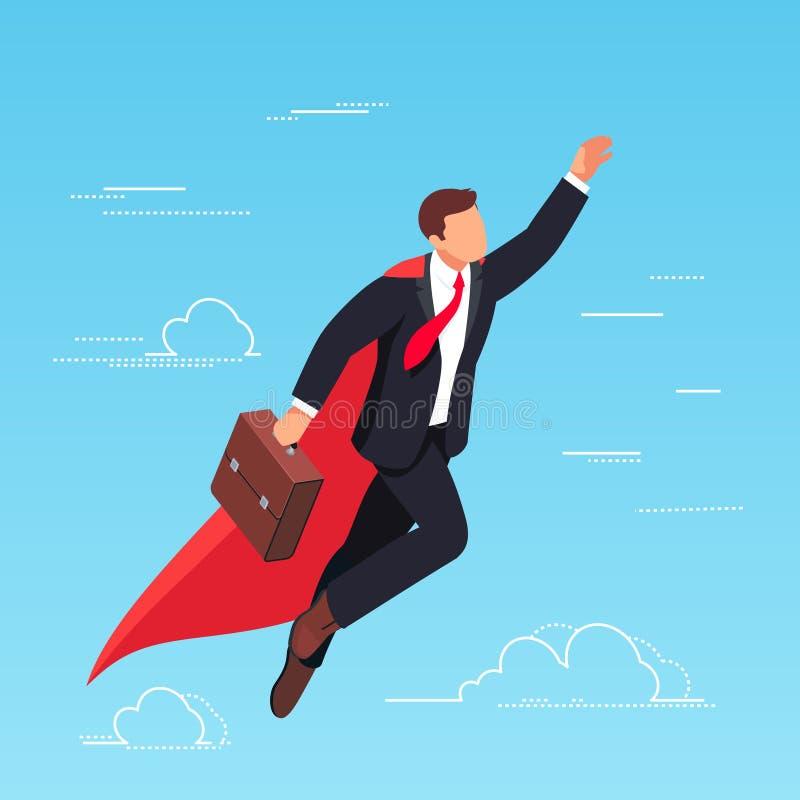 Il volo isometrico dell'uomo d'affari nel cielo gradisce un supereroe illustrazione vettoriale
