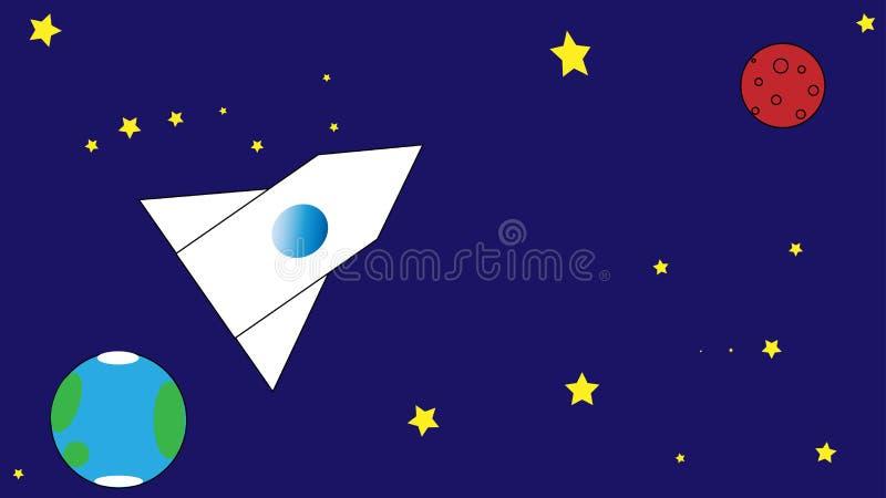 Il volo in spazio su un razzo, un missile vola a Marte fotografia stock
