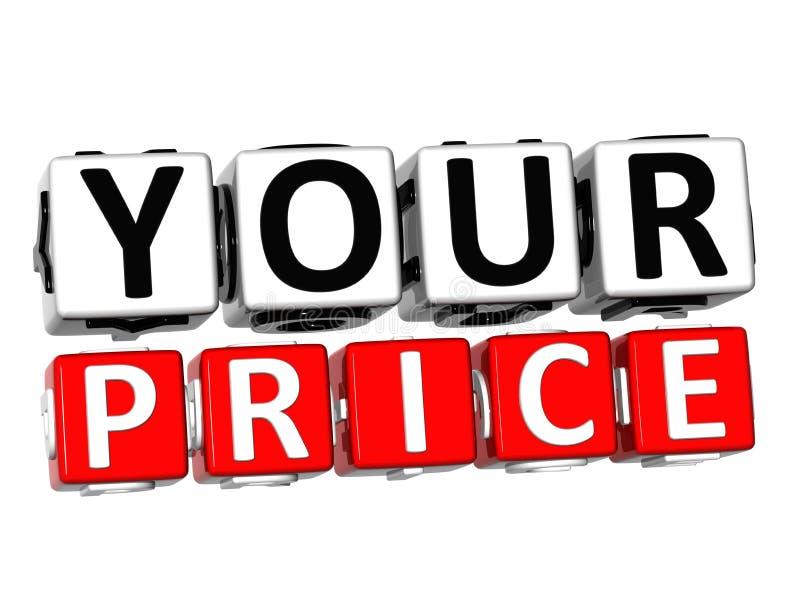 il vostro bottone dei prezzi 3D clicca qui il testo del blocco illustrazione di stock