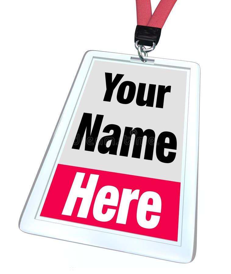 Il vostro nome qui Badge Lanyard Advertising royalty illustrazione gratis
