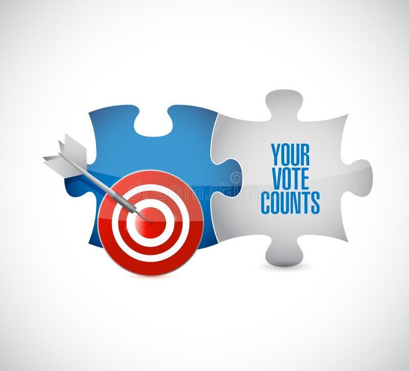 Il vostro voto conta il messaggio dei pezzi di puzzle dell'obiettivo royalty illustrazione gratis