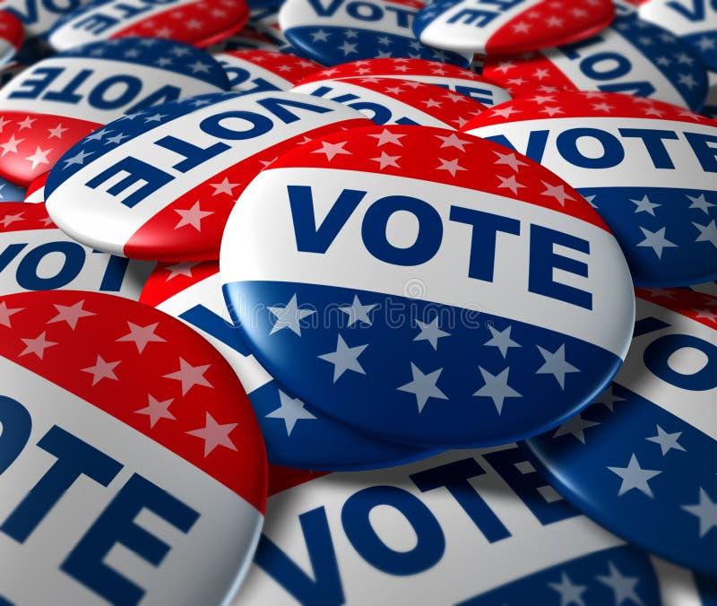 Il voto badges il patriottismo di simbolo di elezione di politica illustrazione di stock