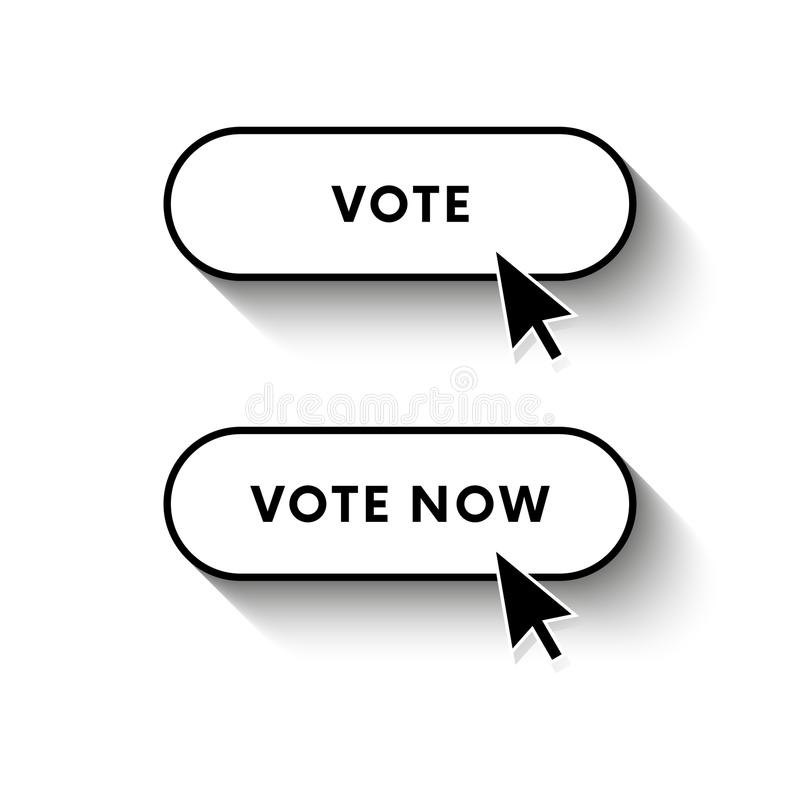 Il voto ora si abbottona Voti il tasto Ombra lunga Illustrazione di vettore illustrazione di stock
