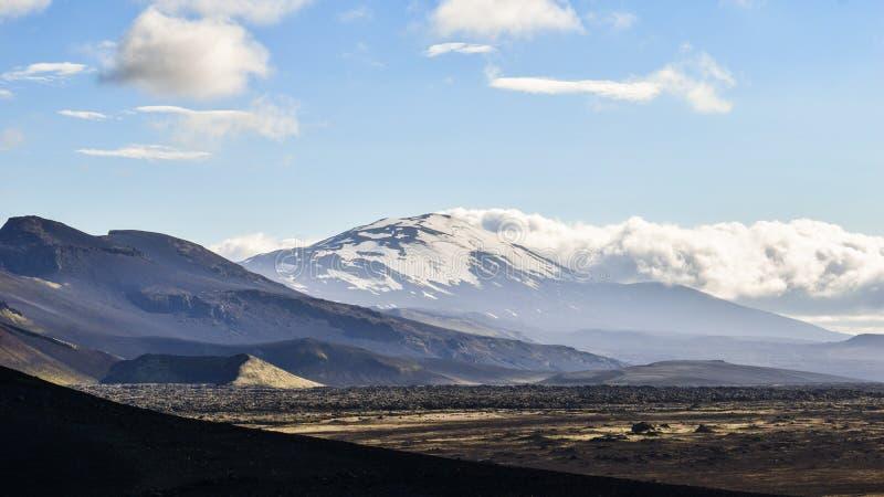 Il vulcano malfamato di Hekla, Islanda del sud immagini stock