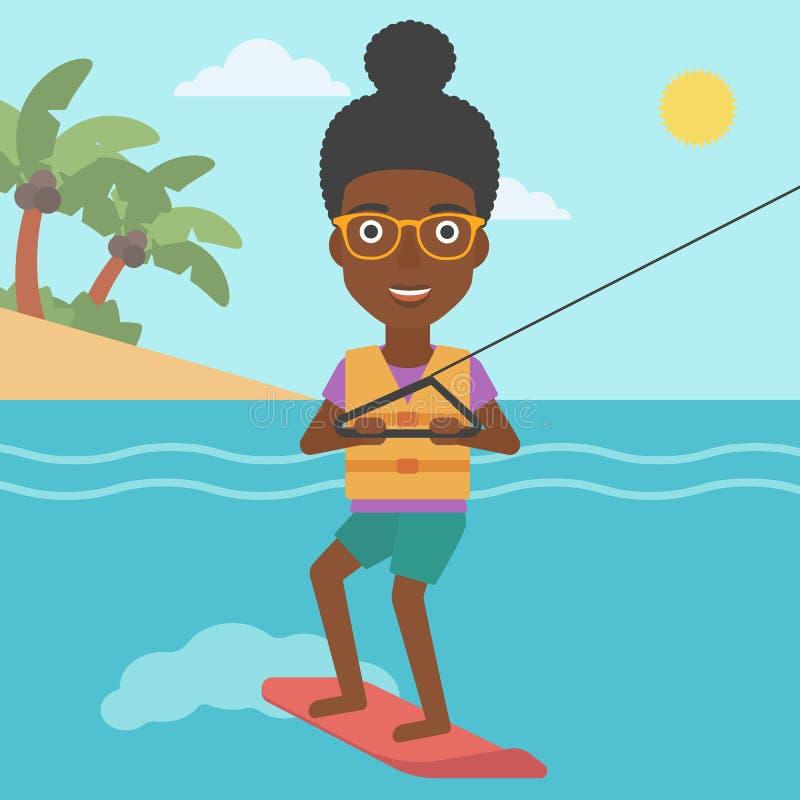 Il wakeboard professionale mette in mostra la donna illustrazione di stock