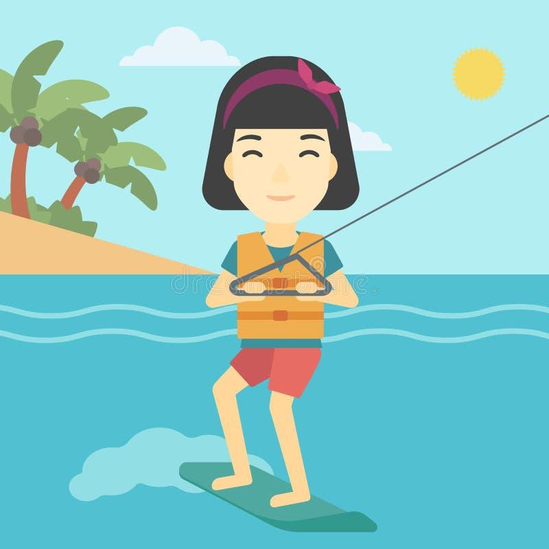 Il wakeboard professionale mette in mostra la donna illustrazione vettoriale
