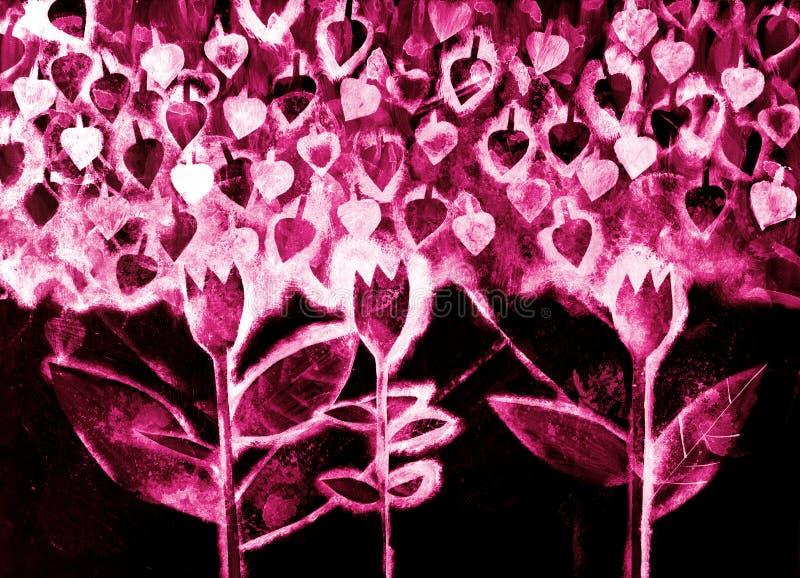 Il watercolo dipinto a mano dei fiori stilizzati immagini stock libere da diritti