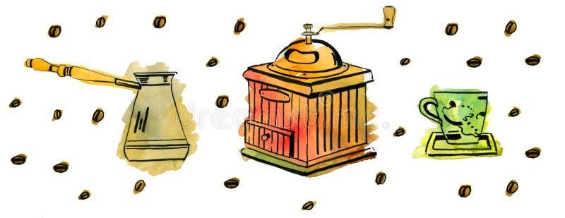 Il watrcolor disegnato a mano ha messo con i chicchi di caffè, il mulino e il jezva illustrazione vettoriale