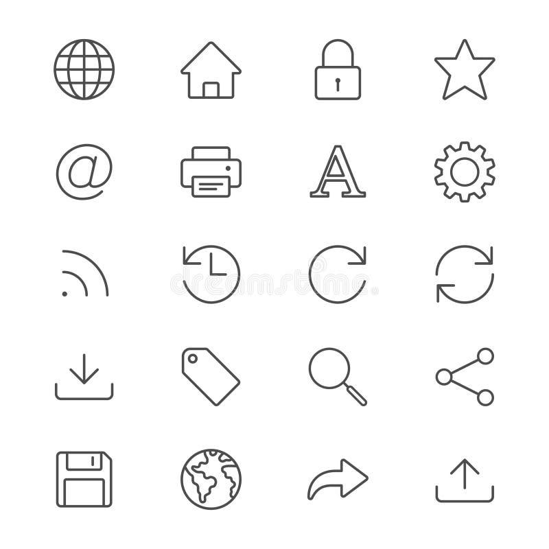 Il web assottiglia le icone royalty illustrazione gratis