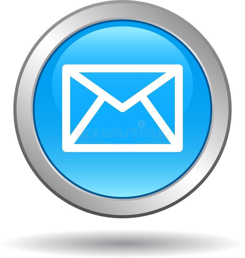 Il web dell'icona della posta del contatto abbottona il blu illustrazione vettoriale