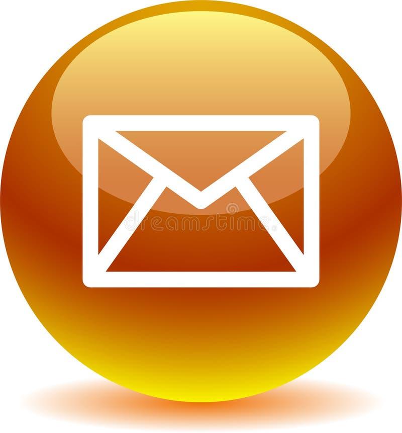 Il web dell'icona della posta del contatto abbottona l'oro illustrazione vettoriale