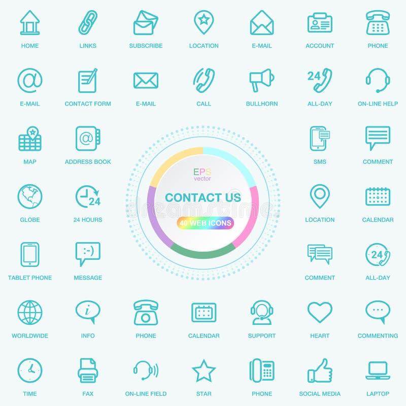 Il web e Internet universali ci contattano linea icone messe Bottoni di media di web, del blog e del sociale Il vettore Illusitra illustrazione di stock