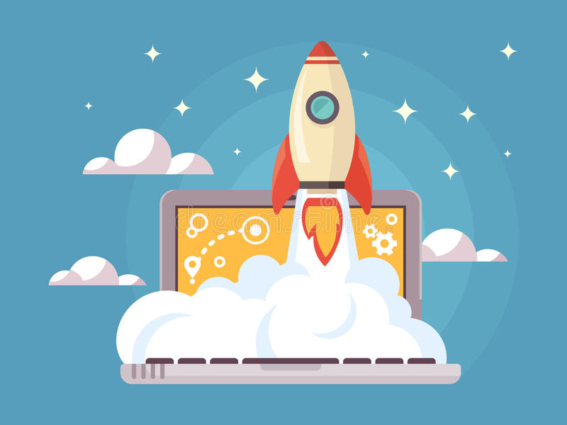 Il web inizia sullo stile piano illustrazione di stock