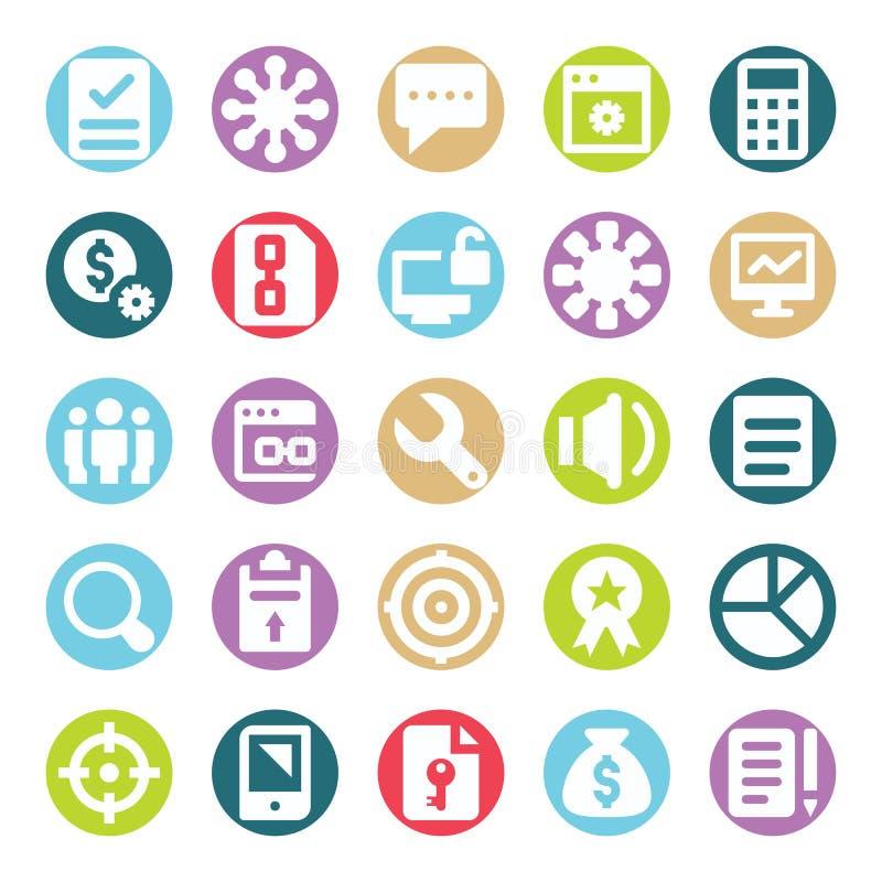 Il web, SEO, gli strumenti e la vendita di Digital due vettori di glifo di colore hanno isolato il pacchetto editabile delle icon illustrazione di stock