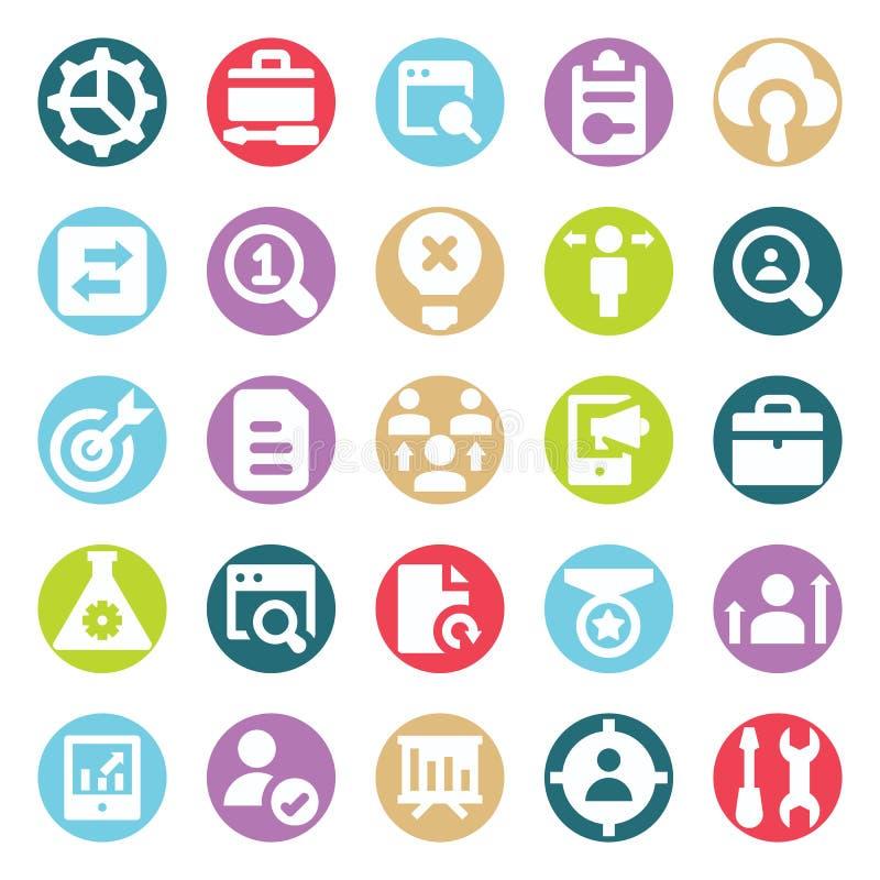 Il web, SEO, gli strumenti e la vendita di Digital due vettori di glifo di colore hanno isolato il pacchetto editabile delle icon illustrazione vettoriale