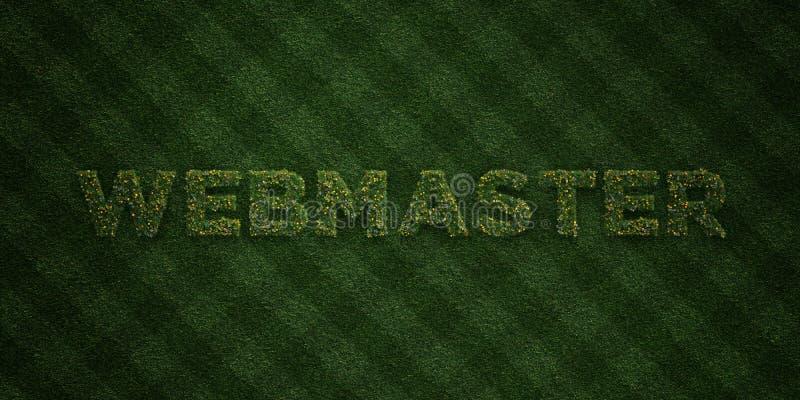 Il WEBMASTER - lettere fresche dell'erba con i fiori ed i denti di leone - 3D ha reso l'immagine di riserva libera della sovranit illustrazione vettoriale