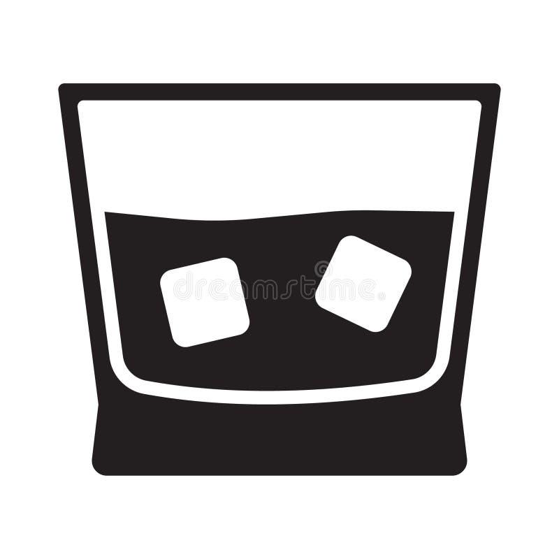 Il whiskey con l'icona di vetro del ghiaccio ha isolato royalty illustrazione gratis
