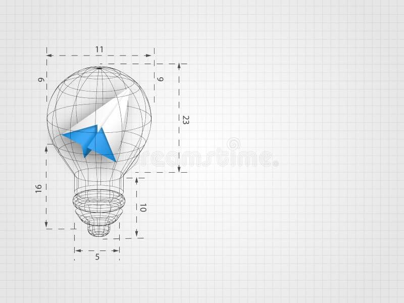 Il wireframe della lampadina con il rapporto che contiene l'aeroplano di origami sul fondo di griglia rappresenta il pensiero di  illustrazione di stock