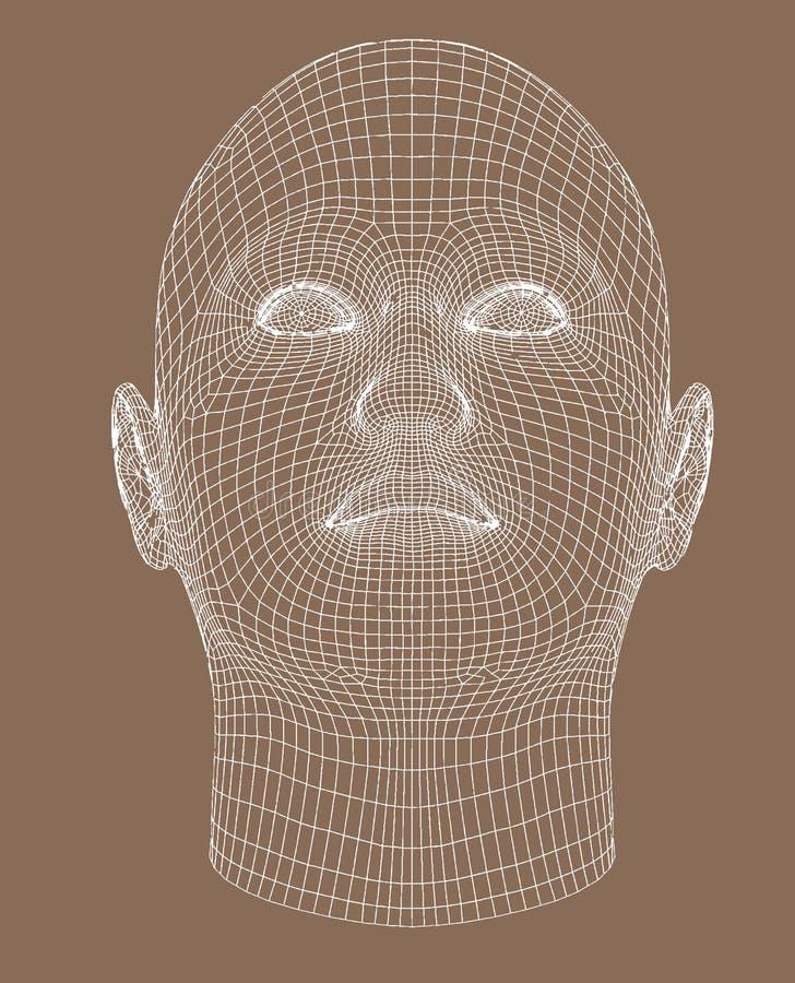 Il wireframe Full-face rende la giovane donna illustrazione di stock