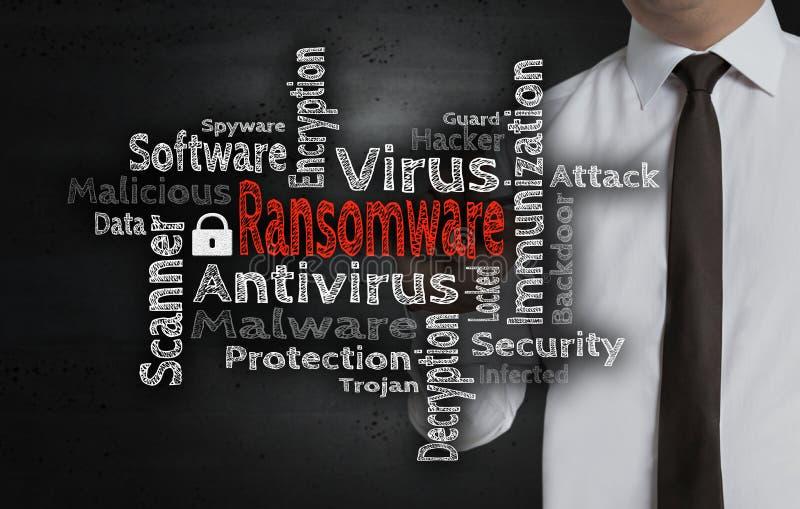 Il wordcloud di Ransomware è scritto dall'uomo d'affari sullo schermo immagini stock