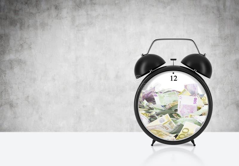 Il y a d'EURO factures à l'intérieur du réveil qui est sur la table Le concept de 'le temps, c'est de l'argent' et une gestion du illustration de vecteur
