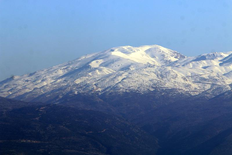 Il y a de neige sur le mont Hermon photographie stock