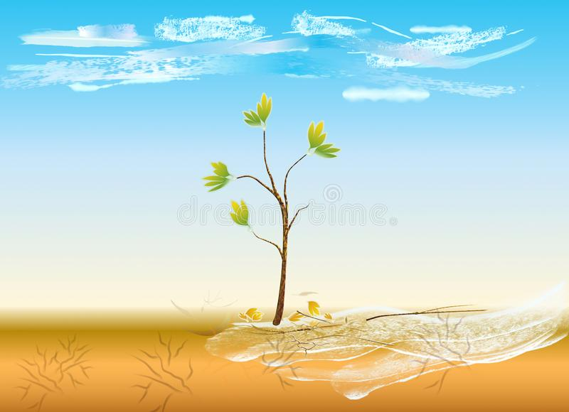 Il y a la vie dans le désert illustration de vecteur