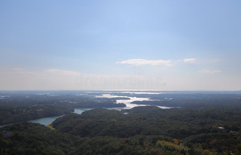 Il y a le paysage Shima Japan d'île de baie photographie stock