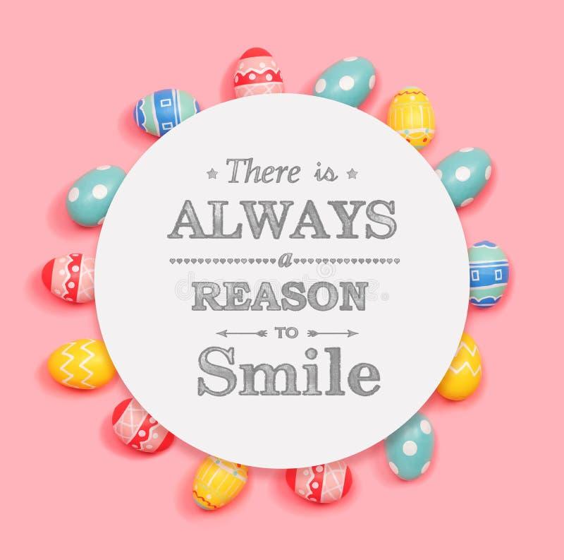 Il y a toujours une raison de sourire avec des oeufs de pâques illustration stock
