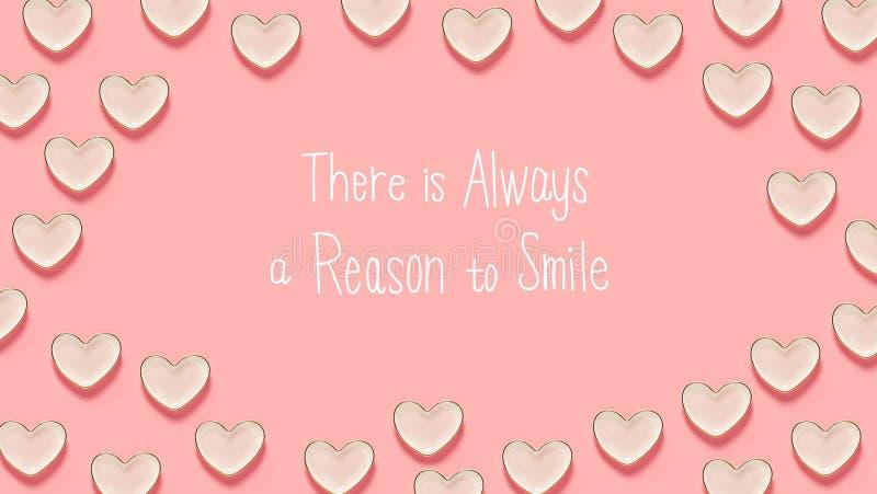 Il y a toujours une raison de sourire message avec beaucoup de plats de coeur illustration de vecteur