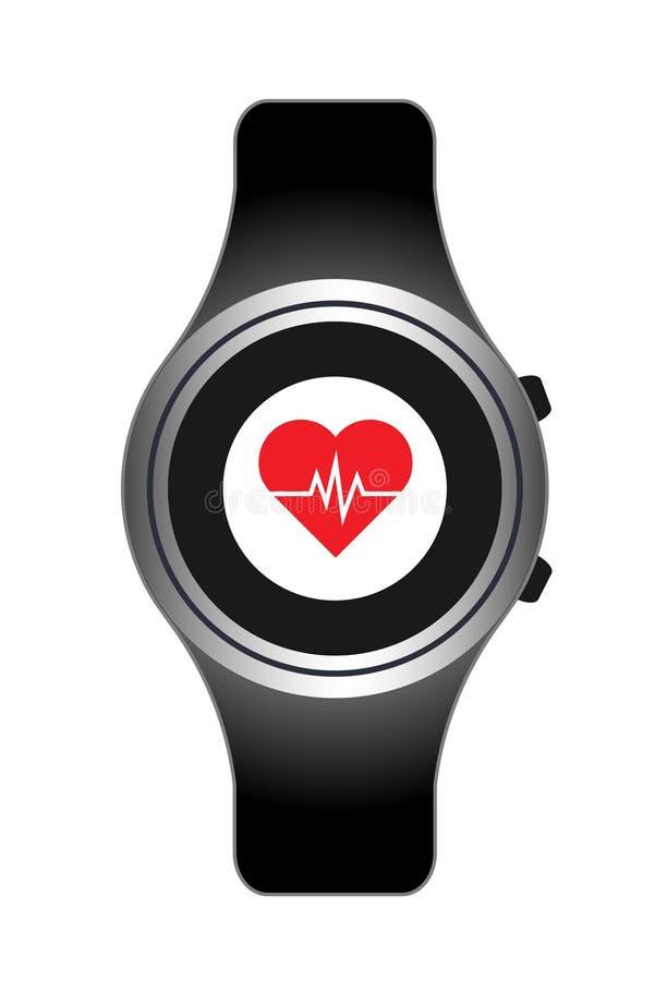 ila för teknologihjärta för klockan wearable kardiologi Hjärtahastighet vektor illustrationer