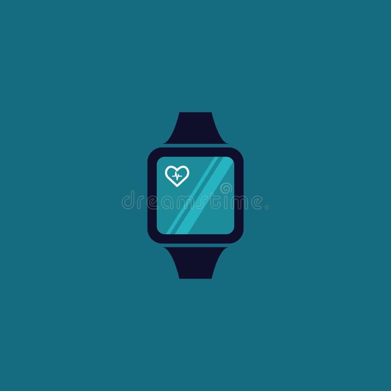 ila för teknologihjärta för klockan wearable kardiologi vektor royaltyfri illustrationer