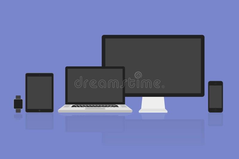 Ilar den moderna bildskärmen för vektorillustrationen, datoren, bärbara datorn, telefonen, minnestavla och klockan royaltyfri illustrationer