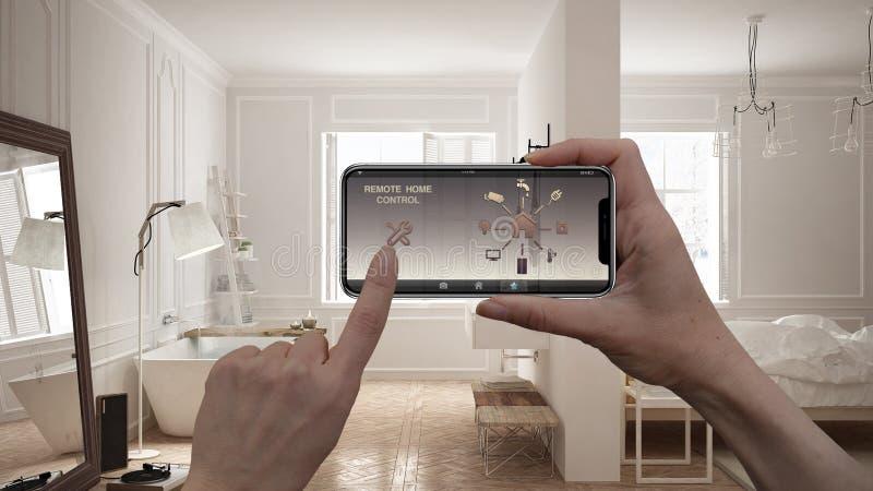 Ilar det hem- kontrollsystemet för fjärrkontrollen på ett digitalt telefonminnestavlan Apparat med app-symboler Inre av det scand royaltyfri illustrationer