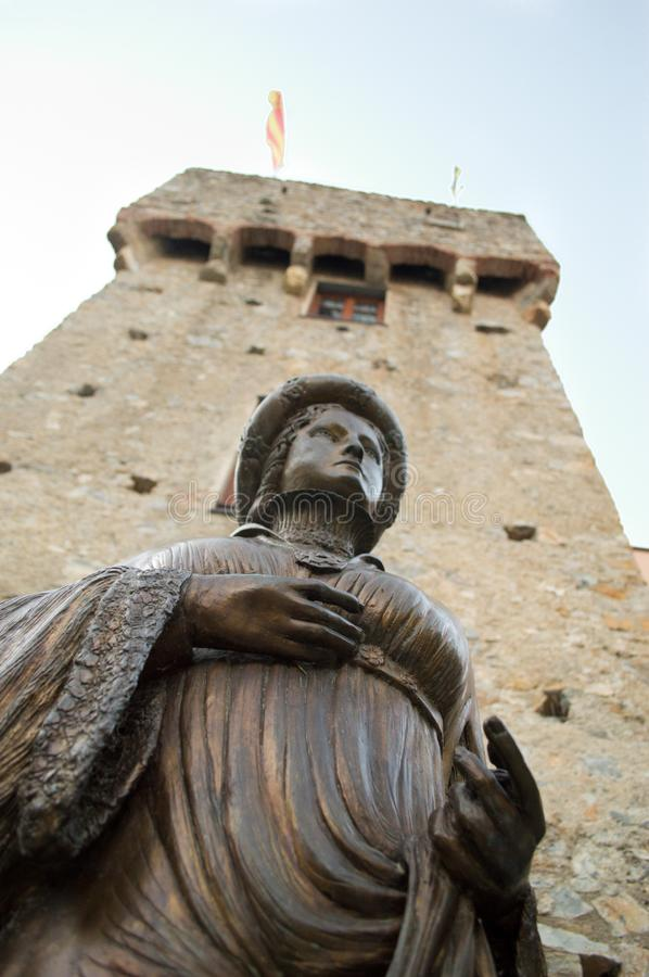 Ilaria del Carretto statue in Zuccarello stock photography