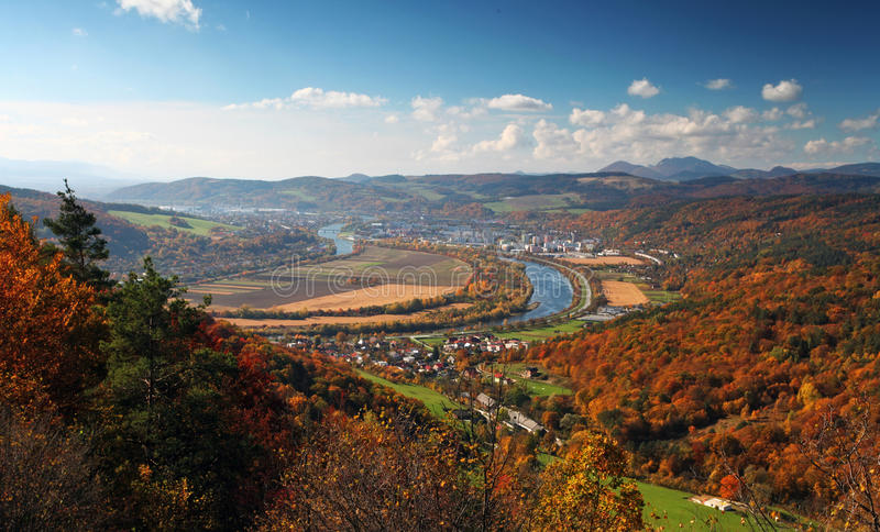 Ilava - city in Slovakia. Autumnal landscape with village in Slovakia countryside stock images