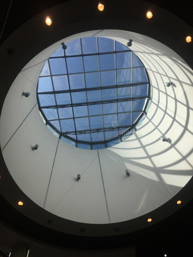 Modern mall ceiling design in Ilawa Poland stock images