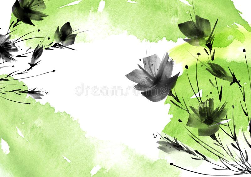 Ild花,领域,庭院-百合,剪影鸦片,玫瑰 库存例证
