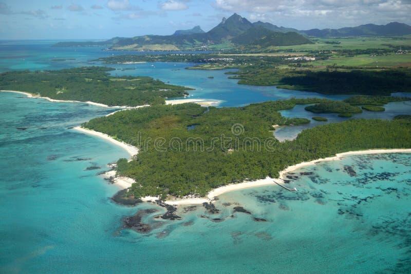 Ile aux Cerf Mauritius. Aerial view of Ile Aux Cerfs in Mauritius stock photos