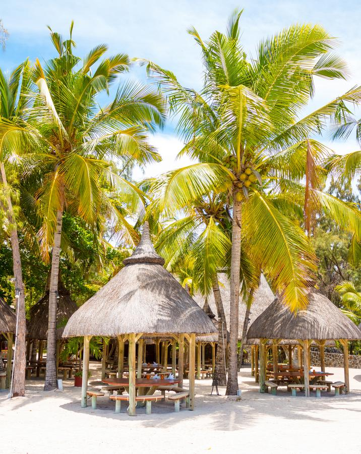Ile Aux Cerfs Island touristic resort. Ile Aux Cerfs Island Famous touristic resort near Mauritius coast is a known destination for many water sports and royalty free stock image