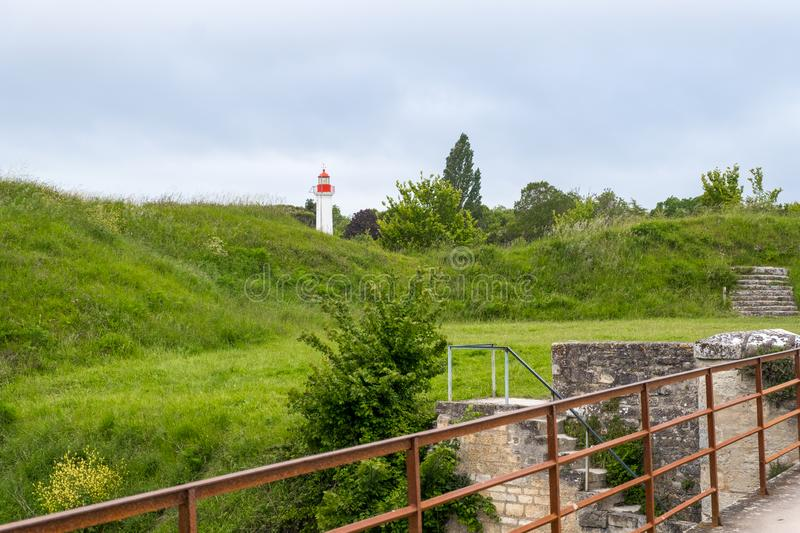 Lighthouse of Chateau-d`Oleron on the island Oleron in France royalty free stock images
